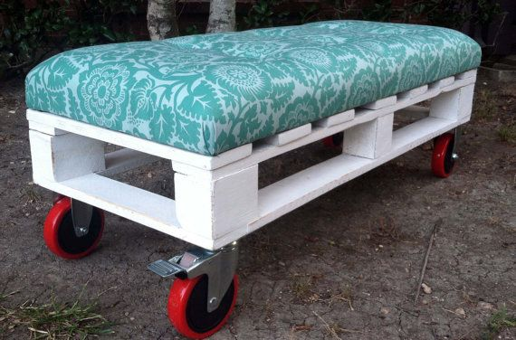 "Pallet bench that can be used as extra seating, placed at the foot of the bed or even as a coffee table. The fabric seat is tufted with six buttons. Caster wheels. The upholstery is made from 2"" high density furniture foam that is shielded with an extra ½"" layer of soft wrapping fabric for additional cushioning. The bench measures: length 42"" width 17"" and height 15.5"""