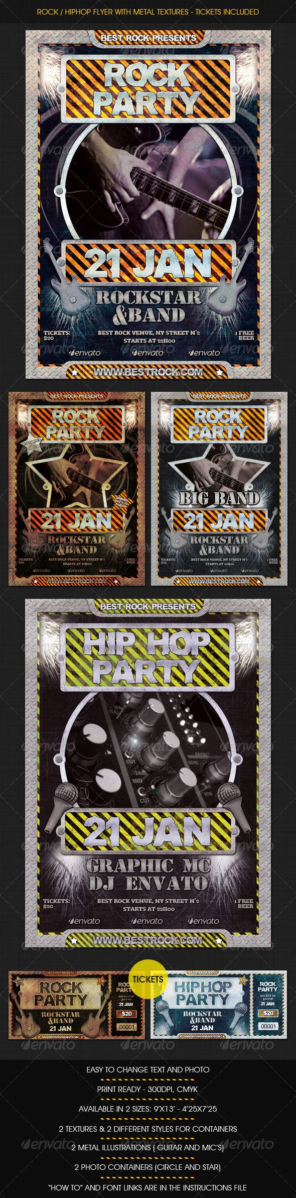 Rock / HipHop flyer w/ Tickets  #GraphicRiver         A metal textured flyer for any rock concert or even hiphop. It's an easy customizable flyer with 2 different textures, 2 illustrations (Guitars and microphones), 2 text and plate styles and 2 photo containers.  	 You can combine different textures and layers for different color results.  	 Perfect for your rock, heavy metal or even hiphop party, conc