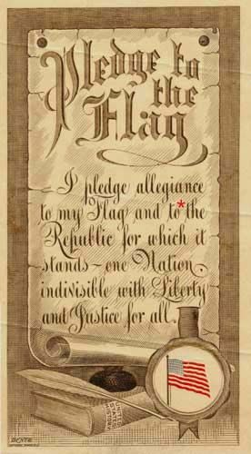 Oct. 12, 1892, the original version of the Pledge of Allegiance is first recited in public schools to celebrate the 400th anniversary of Columbus' landing.