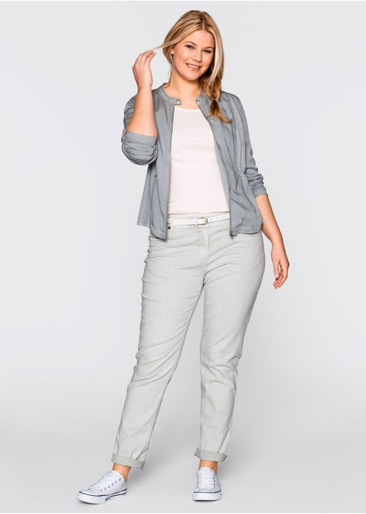 Spodnie ze stretchem i efektem wytarcia • 99.99 zł • bonprix