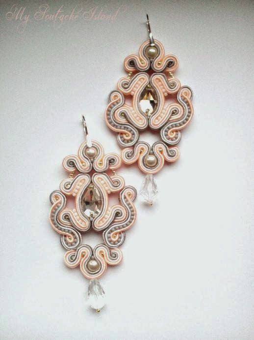 Pink & grey soutache earrings with Swarovski crystals and pearls, bridal