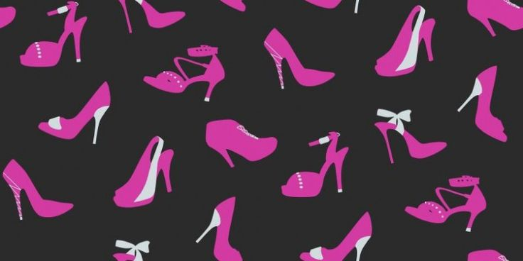 Stiletto Pink (623002) - Arthouse Wallpapers - A fun and vibrant wallcovering with various high heeled ladies shoes. Shown here in black and fuchsia pink with metallic silver highlights. Other colourways are available. Please request a sample for a true colour match.