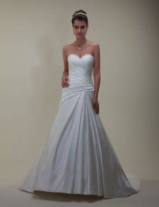 'Venus'  Simple satin gown with pleated corset bodice & train Size 14:  Was £799, Now £450 Fancy trying on this gown?  Email us now to make an appointment:   sarah@bridalgallerycoventry.co.uk