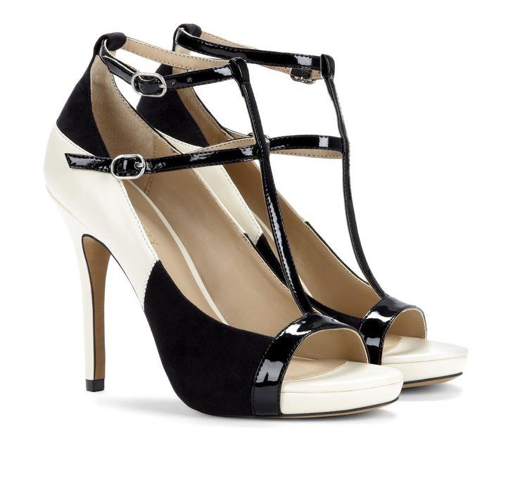 T-strap heels - Malia Black & White Shoe
