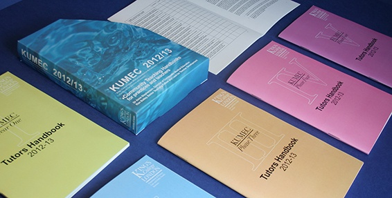 Simple graphical set of colour outers designed to dress-up this course information pack printed mono inside... By Cascade Group