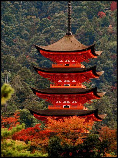 Miyajima pagoda in Miyajima Island, Japan   jyoujo