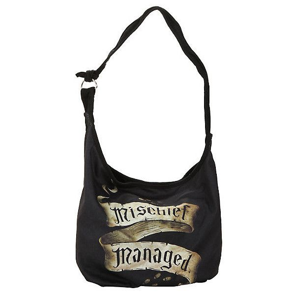 Harry Potter Mischief Managed Hobo Bag | Hot Topic ($20) ❤ liked on Polyvore featuring bags, handbags, shoulder bags, hobo handbags, hobo purses, white shoulder bag, white purse and hobo shoulder handbags