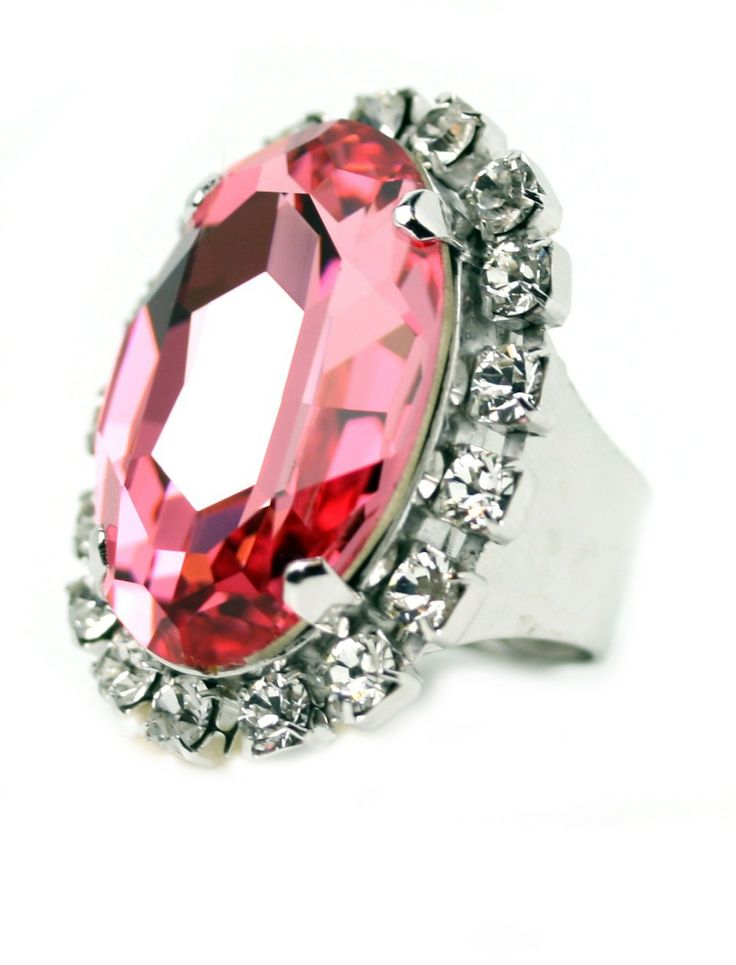Bring on the Bling with this fantastic Crystal Ring - the bigger the better. Swarovski Cyrstals and Rhodium Plated. 3cm long. Handmade by Redki - Wearable Art Made in Australia www,redki.com.au