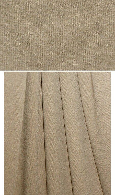 (PANTONE 16-1315 is close) A beautiful 11 oz. rayon/lycra single knit jersey in a taupe heather (the heather is very subtle). Rayon/lycra is cool, comfortable, incredibly soft and drapey, has great recovery, and the 11 oz. weight is fabulous for trendy tops and tees, yoga wear, flowy skirt or elastic waist pants, etc. 4-way stretch with great recovery. Machine wash gentle, hang to dry.