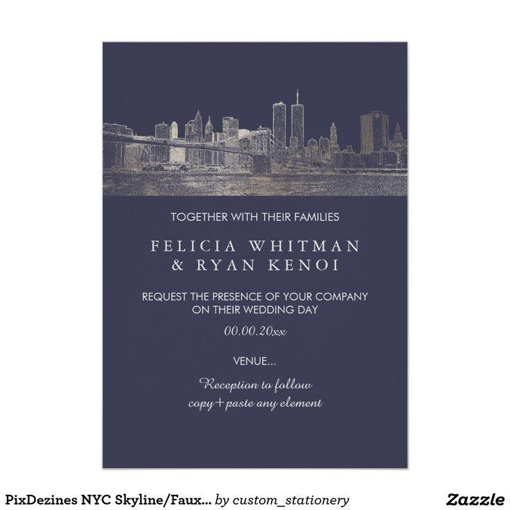 purple white silver wedding invitations%0A PixDezines NYC Skyline Faux Silver DIY Bckgrnd Card