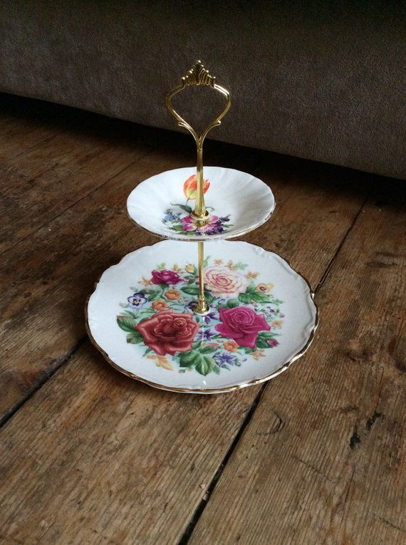 beautiful 2 tier cake stand by PrettyRandomCrafts on Etsy