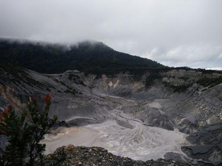 Mt.Tangkuban perahu crater with sulfuric fluid
