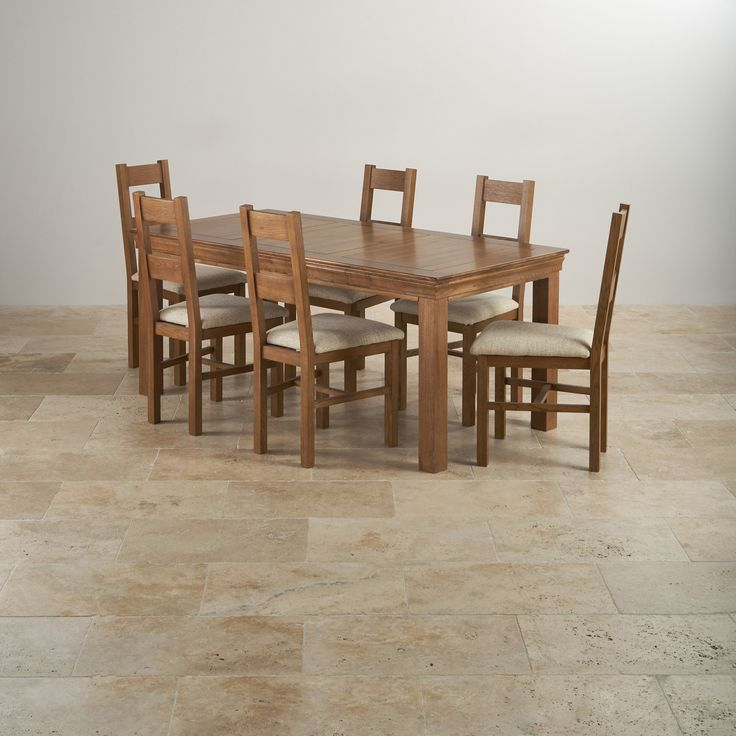 French Farmhouse Rustic Solid Oak Dining Set - 6ft Table with 6 Farmhouse and Beige Plain Fabric Dining Chairs