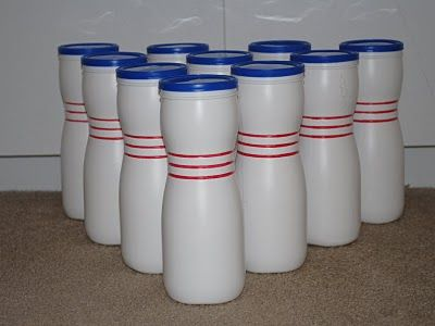 Bowling set-using gerber's containers! I have a cheap one I got at WalMart, so many ways to use it!