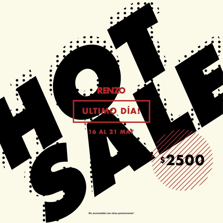 ⭐ ÚLTIMO DÍA de #HotSale ⭐  Hace click en el siguiente enlace, imprimí tu CHEQUE de $2.500 y canjealo por cualquiera de nuestros productos: http://blog.renzoshop.com/hot-sale-2016/
