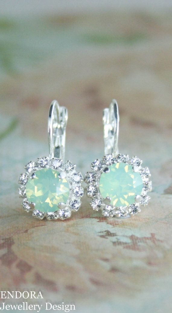 Mint opal drop earrings | mint opal earrings | mint wedding | www.endorajewellery.etsy.com
