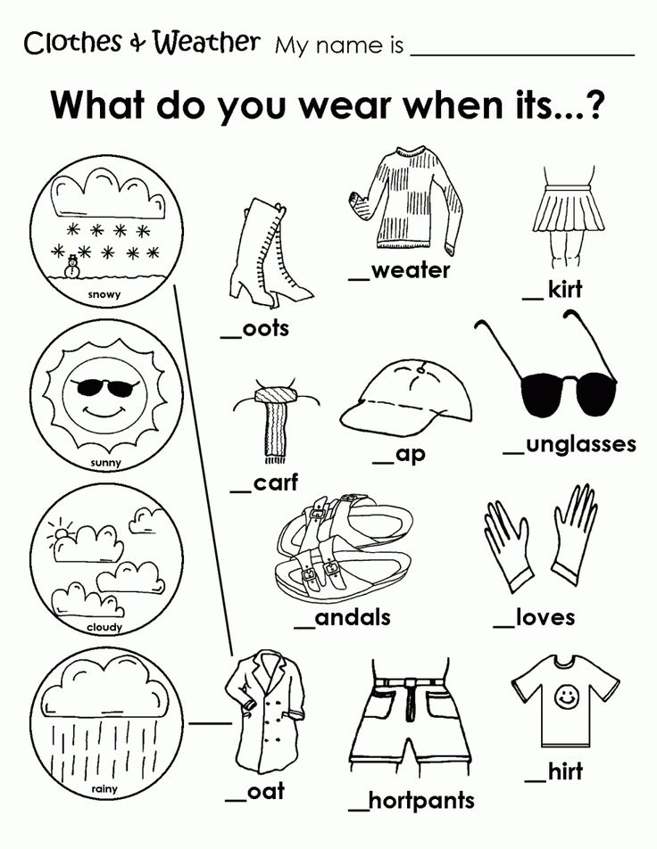 printable weather clothes worksheet
