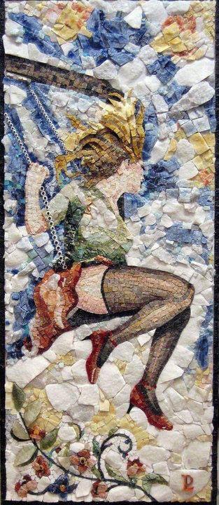 """""""L'Altalena"""" (Il Gioco) Mosaico a spacco e in rilievo in marmi policromi con inserti di pietre preziose: Lapislazuli, Ametista, Sodalite, Malachite,Quarzo Rosa,quarzo Verde,Cristallini Turchi,Bianco Michelangelo,Azul Bhaia, Azul Macaubas e Onice Miele """"The Swing"""" (The Game) Mosaic in high relief with polychrome marble with inlays of precious stones: Lapis, Amethyst, Sodalite, Malachite, Rose Quartz, Green Quartz, Crystalline Turks, White Michelangelo, Bhaia Azul, Azul Macaubas and Honey Onyx"""