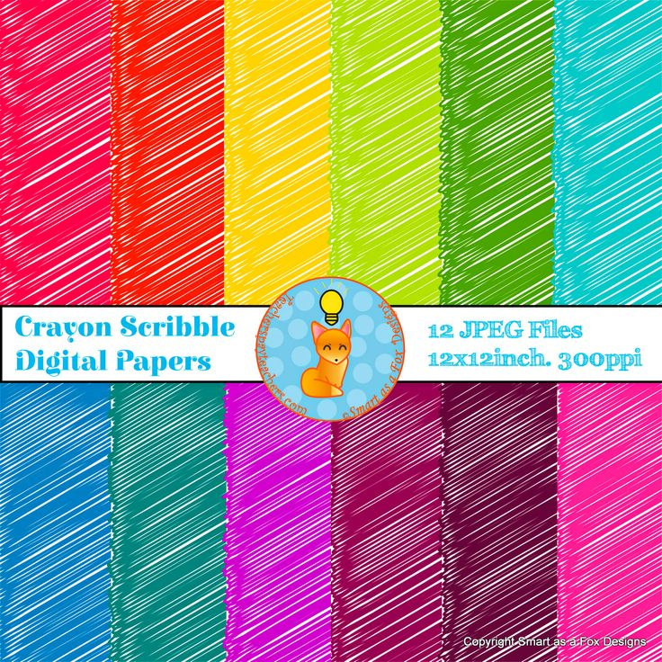 Crayon Scribble Drawing : Digital papers crayon scribbles rainbow shops foxes and