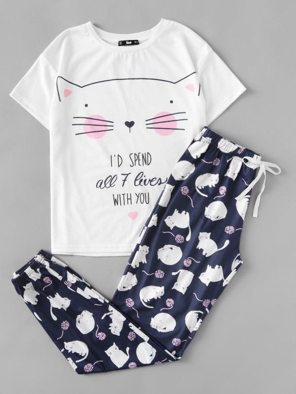 3881c5d763 Shop Cat Print Tee And Pants Pajama Set online. SheIn offers Cat Print Tee  And Pants Pajama Set & more to fit your fashionable needs.
