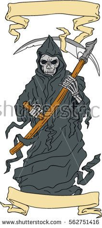 Drawing sketch style illustration of the grim reaper holding scythe viewed from front with scroll set on isolated white background.   #grimreaper #drawing #illustration