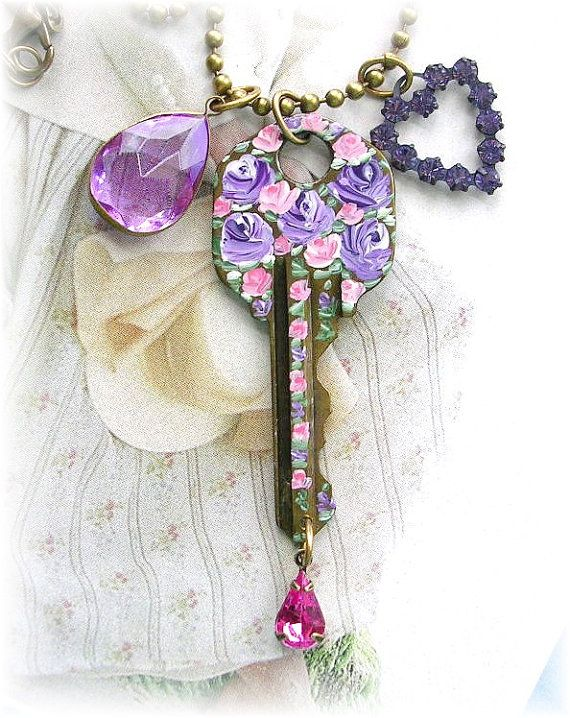 Vintage Key Charm Necklace Brass Swarovski Heart Purple Pink Painted Roses Shabby Chic <3