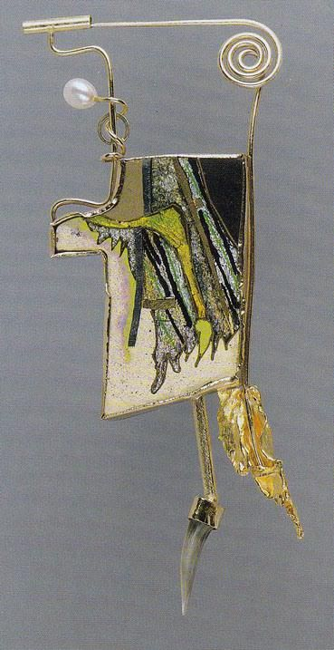 william harper    OPIUM I  1980  gold and silver cloisonné' on copper; 14 and 24 kt gold; sterling silver; tooth; pearl