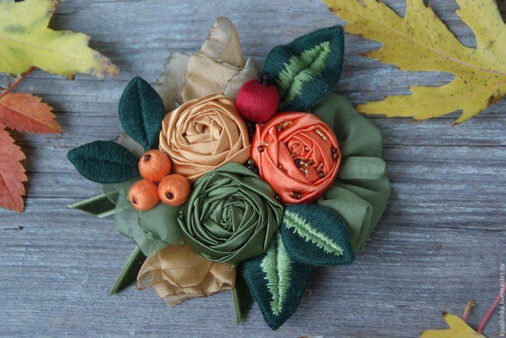 """Купить Брошь из ткани """"Рябина"""" - разноцветный, Рябина, осень, брошь, брошь из ткани, брошь текстильная"""