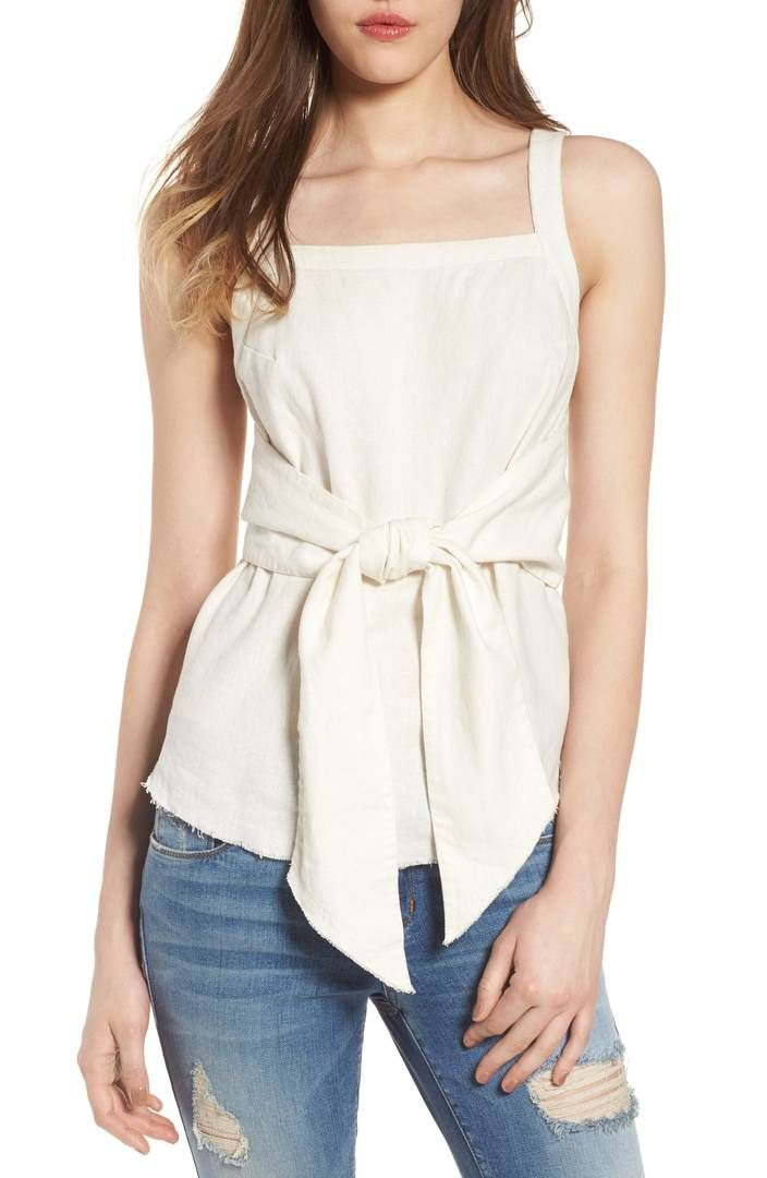 ce3819380 BP. Tie Front Linen Blend Tank Top | Fashion Musts | Tank tops, Tops ...