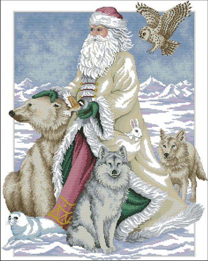 Polar Bear Santa Cross Stitch Pattern***L@@K***~~ I SEND WORLD-WIDE ~~Free by LONE WOLF CROSS-STITCH PATTERNS LOOK, $4.95 USD