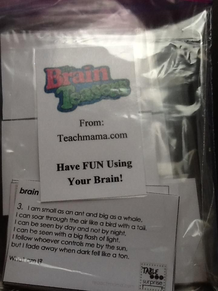 Brain Teasers 16 2x4 Cards With ANSWER KEY