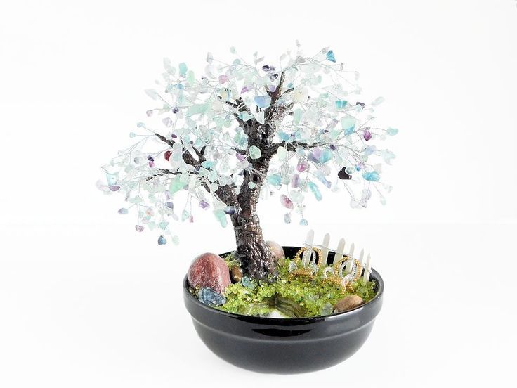 22cm Fluorite Lilac Bonsai with Pond, Patio Chairs & Fence in Ceramic Pot. Handmade Feng Shui Gemstone Tree. Purple Wedding Centerpiece Tree by BeadedGardenCanada on Etsy