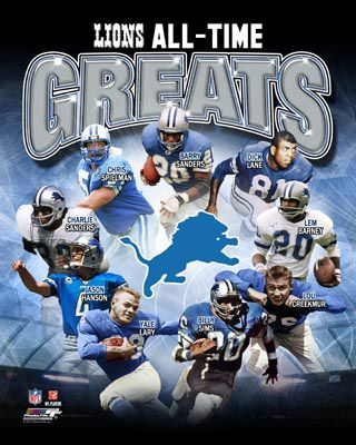 Detroit Lions ALL-TIME GREATS (9 Legends) Commemorative Poster Print ~available at www.sportsposterwarehouse.com