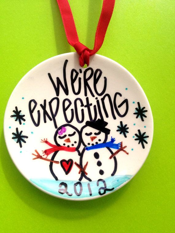 We're Expecting Custom Christmas Ornament by IttyBittyWedding, $15.95