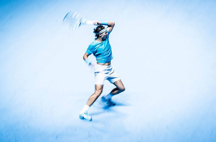 Credit: Tom Jenkins Rafael Nadal, ATP World Finals, O2 Arena. 11/11/13. 300mm lens, 1/30 f8, ISO 400. Nadal has to...