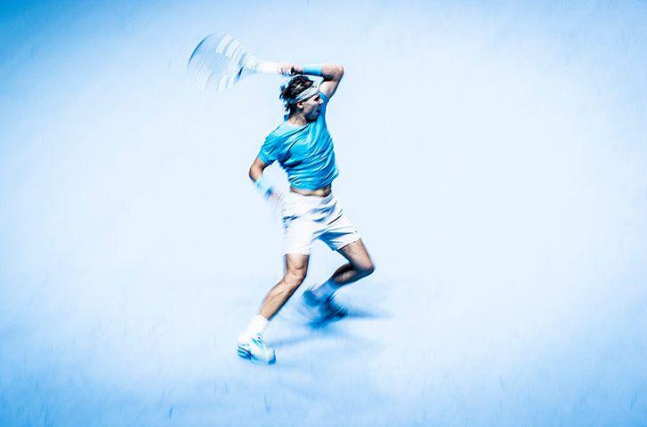 Credit: Tom Jenkins Rafael Nadal, ATP World Finals, O2 Arena. 11/11/13. 300mm lens, 1/30 f8, ISO 400. Nadal has to...