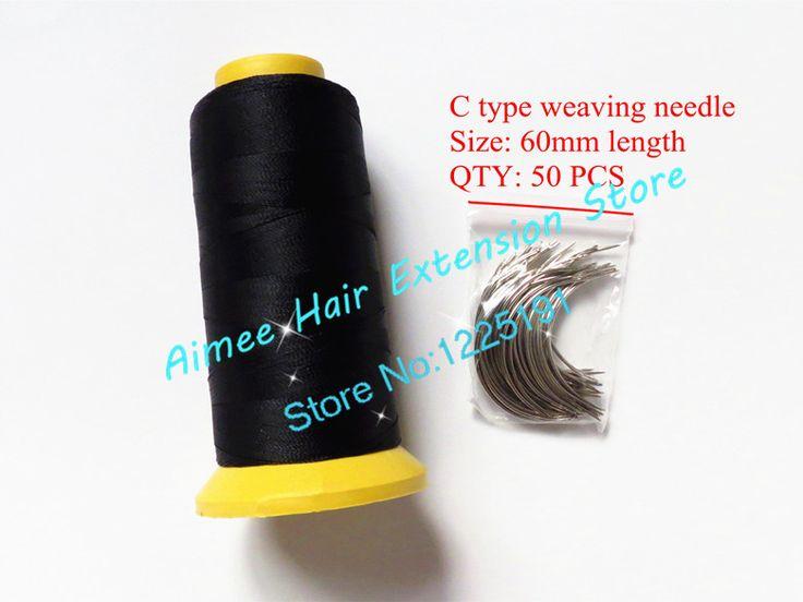 C weaving needles 60mm long Shape needles 50pcs&1 Black Nylon high strength Polyester thread for hair weft 3types as gift