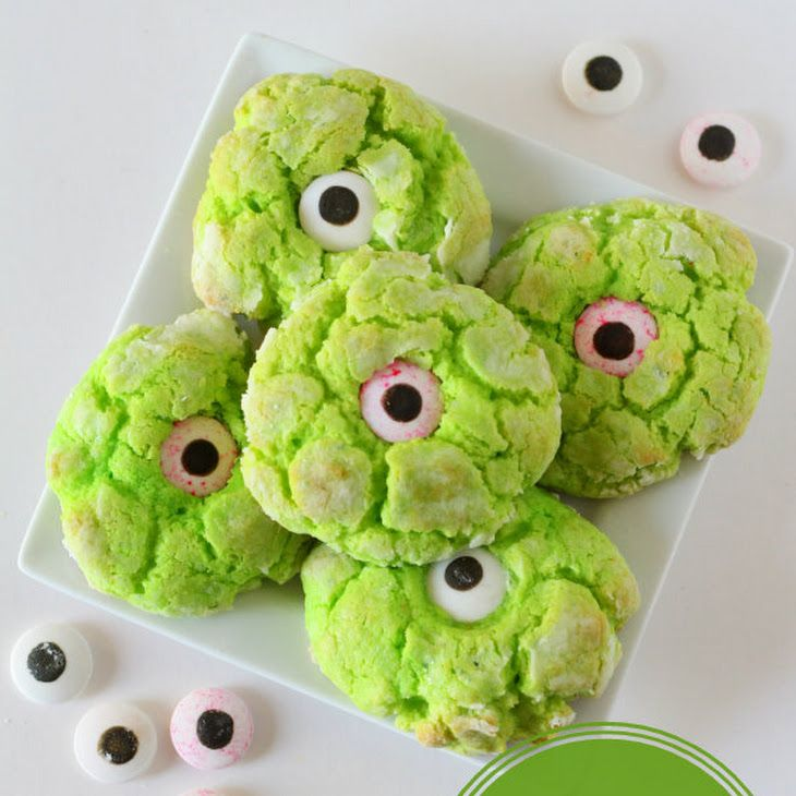 ooey gooey monster eye cookies recipe so good and perfect for halloween yellow cake mix cream cheese powdered sugar with green food coloring and a - Halloween Casserole Recipe Ideas