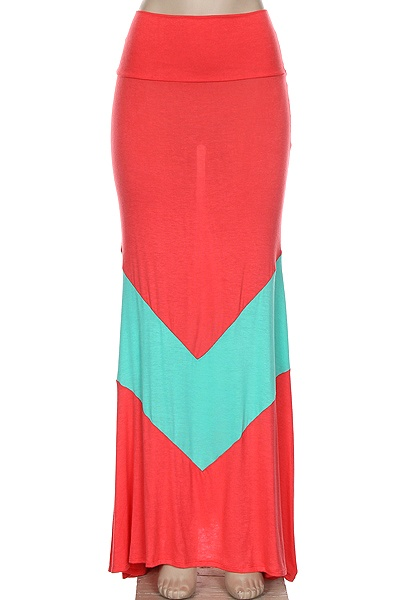 Very Cute Plus Size Chevron Coral Maxi Skirt Great For The Spring And Summer Made In USA Sizes Are Approximate May Run Smaller Larger Depending On Make