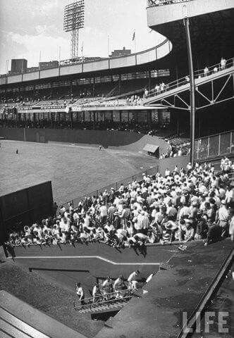 The Polo Grounds looking from above the clubhouse steps.