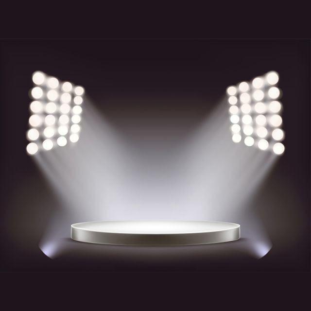 Empty Round White Podium Illuminated By Spotlights Podium Winner
