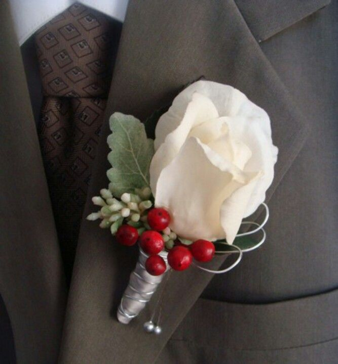 White Rose, red hypericum, dusty millar, seeded eucalyptus Boutonniere