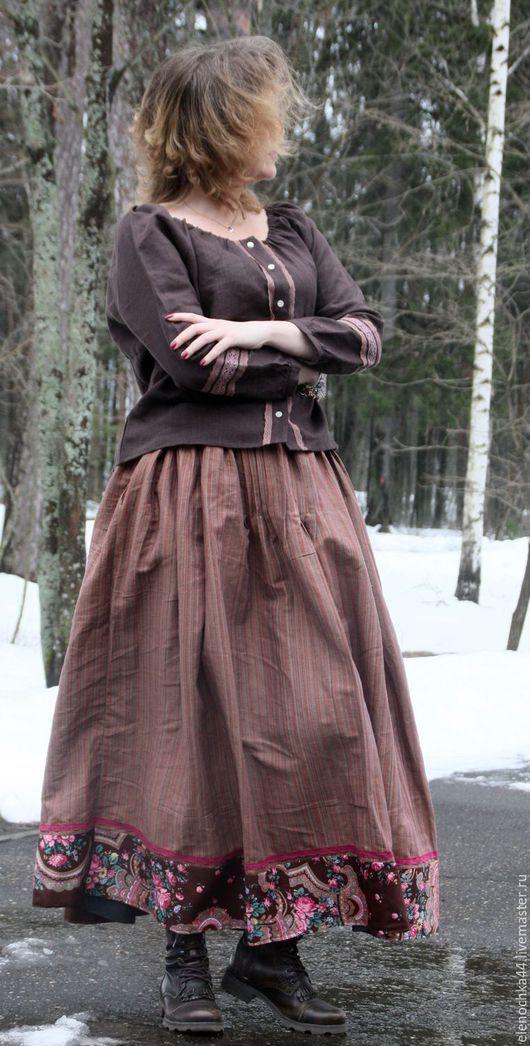 """Юбки ручной работы. Ярмарка Мастеров - ручная работа. Купить Длинная юбка """"Деревенская"""". Handmade. Рыжий, льняная одежда, платки"""