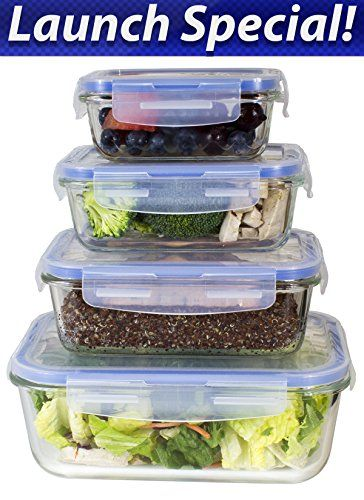Buy [Premium 4 Sets] Glass Meal Prep Food Storage Container with Snap Locking Lid, Glass Meal Prep Containers BPA-Free, Microwave, Oven, Freezer, Dishwasher Safe (62 Oz, 28 Oz, 19 Oz, 11 Oz.) - Reviewhomkit.com ✓ FREE DELIVERY possible on eligible purchases