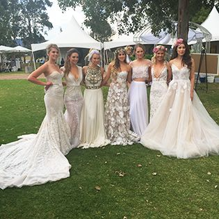 Models in gowns from Helen Rodrigues and makeup by Chic Artistry