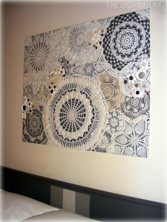 A new twist on an old craft. I would take the smaller doilies of and let the big ones pop.