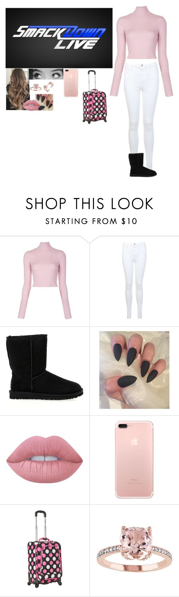 """""""Arriving at Smackdown"""" by riley-497 ❤ liked on Polyvore featuring A.L.C., Miss Selfridge, UGG Australia, WWE, Gucci, Lime Crime and Rockland Luggage"""