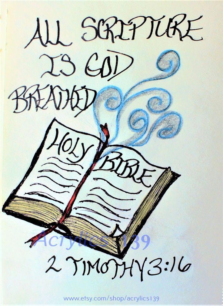 """""""All scripture is God-breath and useful for teaching, rebuking, correcting and training in righteousness."""" 2 Timothy 3:16 (Scripture doodle of encouragement)"""