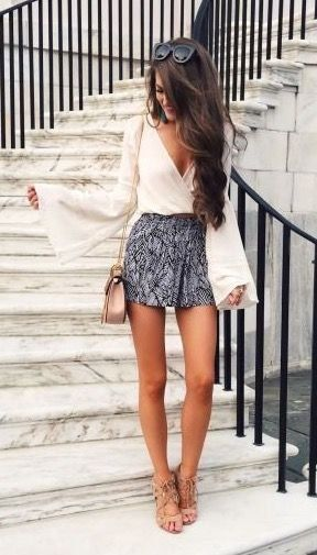 Grey skirt   white wrapped top