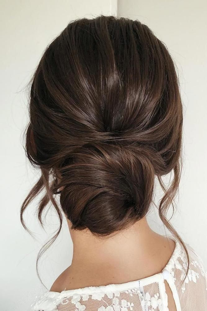 wedding hairstyles for long hair low simple bun on dark hair with loose curls caraclyne.bridal # ...